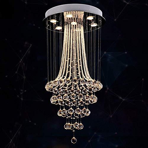 YAMMY Moderno dúplex Lineal K9 Crystal Raindrop Chandelier Accesorio de iluminación Elegante Crystal Droplet Montaje Semi Empotrado LED P (candelabros)