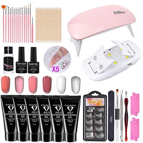 Shakala Gel Nail Polish Kit,Kit de uñas de Gel de extensión de Polietileno,6colores con lámpara de uñas de LED,Full DIY Manicure Tools Set