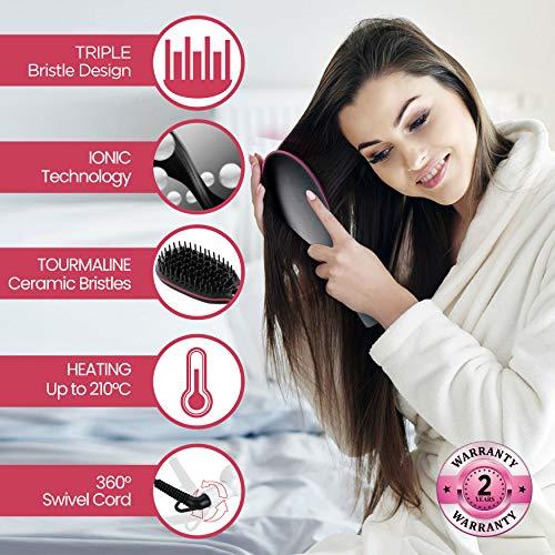 AGARO HSB-4001 Hair Straightener Brush With Ceramic Infused Tourmaline and Triple Bristle Design (Black)