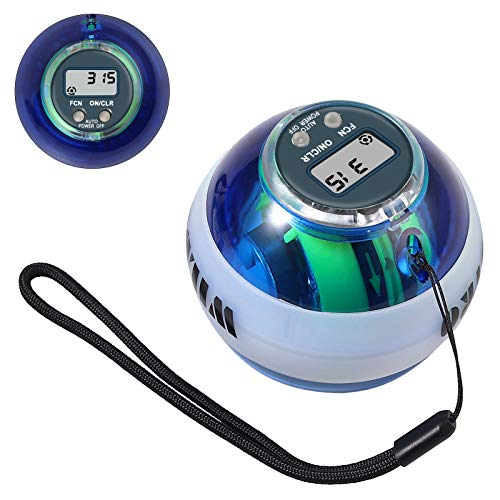 COLFULINE Energyball, Autostart Rotationsball, LED Licht, Basic Gyroskopischer Handtrainer Muskeltrainer, mit Box, zum Training der Armmuskulatur, mit digitalem Drehzahlmesser