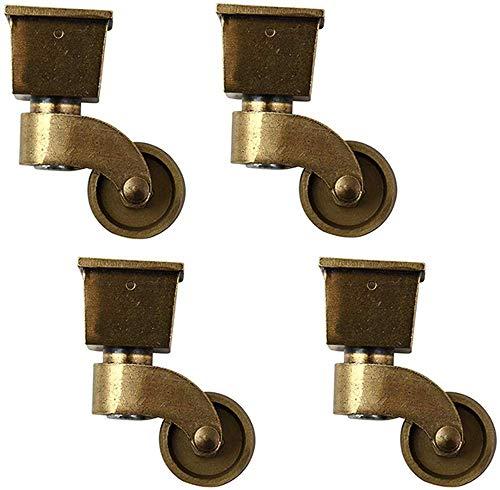 Set van 4 zwenkwielen MeubelCastor Gemaakt van Nylon Olie gewreven in Brons Mute 360 ° draaibaar met Vierkante Beker voor Sofa Stoel Koffietafel Retro Meubels (M) M