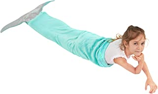 Bonzy Home Mermaid Tail Blanket, Plush Soft Flannel Fleece with Irrediscent Fabric Tail, All Seasons Sleeping Bag Wearable Blanket Teenage Girl Gifts(22