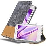 Cadorabo Hülle für HTC ONE A9 - Hülle in HELL GRAU BRAUN – Handyhülle mit Standfunktion & Kartenfach im Stoff Design - Case Cover Schutzhülle Etui Tasche Book