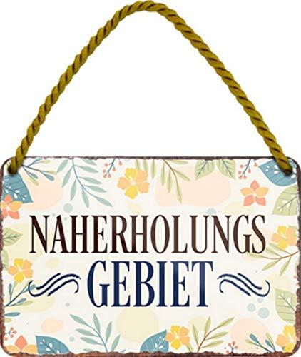 Naherholungsgebiet Blumen 18x12 cm Witziges Garten Blechschild Hängeschild HS549