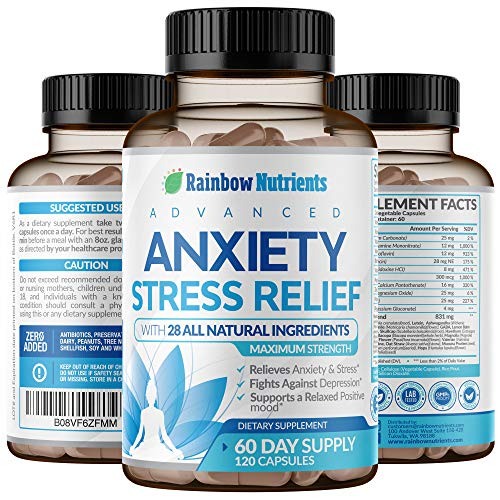 28 In 1 Stress and Anti Anxiety Relief Supplements- Natural Happy Pills That Helps Anxiety, Stress, Sadness, Worrying & Mental Clarity | Max Dopamine Mood Boost for Women & Men | 120 Vegan Capsules