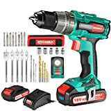 Brushless Drill 18V, HYCHIKA 60N·m Electric Drill with 2x2000mAh Batteries, 21+3 Clutch, 2