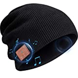 Beanie Hat Bluetooth Headphones, Wireless V 5.0 Knit Music Beanie Unisex, Bluetooth Cap Built-in Stereo Speakers, Valentine's Day Winter Gifts for Outdoor Sports, Men Women (Black)