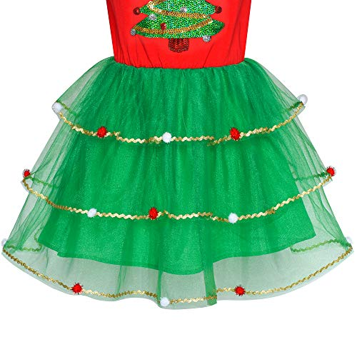 Sunny Fashion Girls Dress Christmas Tree Long Sleeve Year Party Dress Size 10