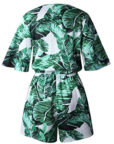 WSPLYSPJY Women Summer Casual V-Neck Leaves-Print Short Sleeve Jumpsuits Rompers Green L