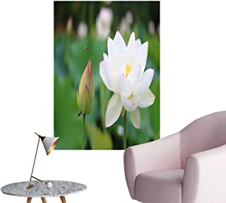 SeptSonne Wall Decoration Wall Stickers White Lotus Flower in Full Bloom Print Artwork,32