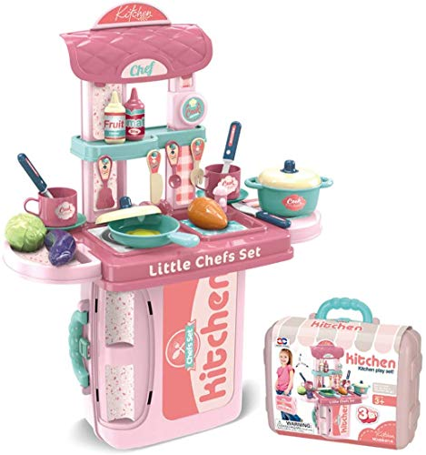 Homespired Kids 3 in 1 Kitchen Playset Portable Carry Case with Food, Pots, Pans Accessories Pretend Play Toy