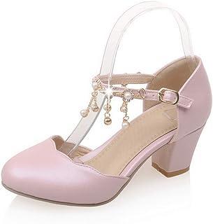 BalaMasa Womens ASL06481 Pu Block Heels