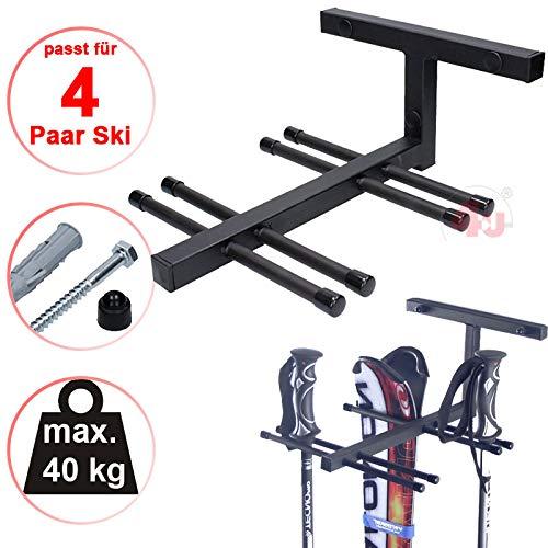 4U® Skihalter für 4 Paar Ski Skiträger Skistöcke Nordic Walking Stöcke Wandhalter Ski Gerätehalter