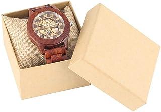LYMUP Reloj de Madera Red Sandalwood Watch Reloj Mecánico Automático Reloj Número Romano Dial Dial Hombres Analógicos Band...