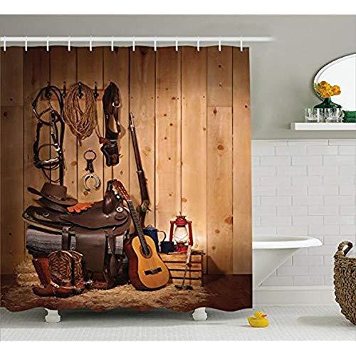 CDFD Duschvorhang von Country Music Guitar Cowboy Boots Folk Culture Stoffvorhänge, W180xH200 CM