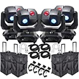 American DJ 3 Sixty 4R Dual Moving Head Lights (4) with DMX Cables (4), Arriba Rolling Bags (4), Heavy Duty C-Clamps (4), & 44 Inch Safety Cables (4)