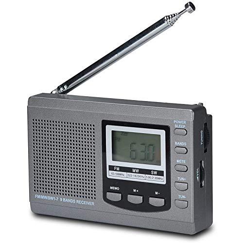 WFGZQ Radio de Banda Completa Am/FM/SW DSP Altavoz estéreo Pantalla LCD Reloj Despertador Temporizador de sueño Radio de Bolsillo Demodulación Digital Mejor recepción con Antena telescópica