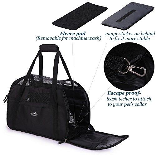 BabycarePro Tragetasche für Hunde & Katzen mit Tragegriff und Schultergurt Hundetasche Komfort Airline Genehmigte Hundetasche Weich-seitig Hund Tasche mit Matte belastet 7 kg, Schwarz