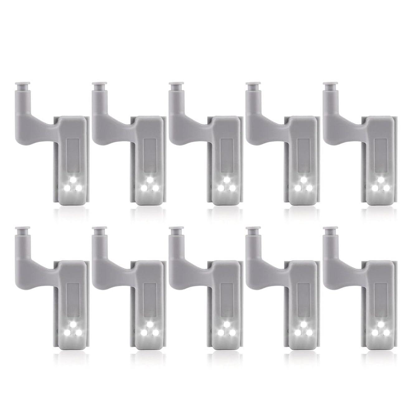 層リスト慎重JVSISM 10個キャビネット戸棚ワードローブLEDヒンジライト スマートセンサーランプ コールドホワイト