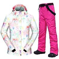 スキー服 スキースーツ女性-30□女性熱防風防水雪のジャケットとパンツスキーやスノーボードのスーツ スキースーツ (Color : F, Size : M)