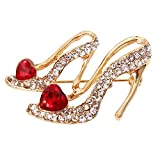 High Heels Shoes Brooch Crystal Red Enamel Sandals Brooches Corsage Clips For Suit Scarf Dress Women Girls Jewelry Pins-Gold