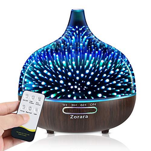 550ml Aroma Diffuser, 3D Glas Ultraschall ätherisches Öl Diffusor Aromatherapie Diffusor für ätherische öle ultraleise Luftbefeuchter Raumbefeuchter - 3D Feuerwerk