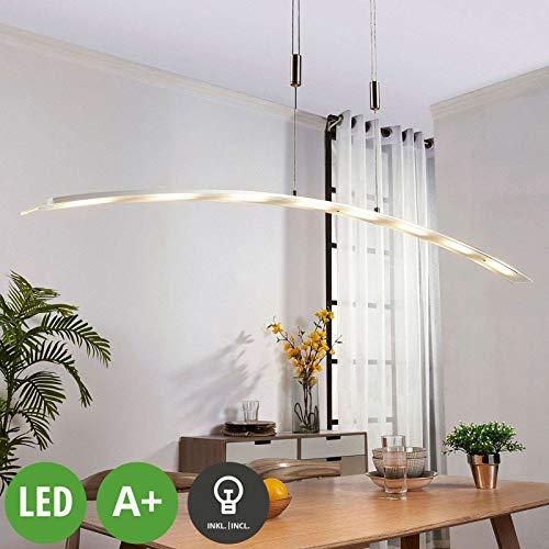 Lindby LED Pendelleuchte 'Manon' dimmbar (Modern) in Alu aus Glas u.a. für Wohnzimmer & Esszimmer (8 flammig, A+, inkl. Leuchtmittel) - Hängeleuchte, Esstischlampe, Hängelampe, Hängeleuchte