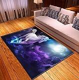Tapis, tapis de sol en polyester doux licorne de dessin animé, tapis doux antidérapant de décoration de chambre à coucher de salon 50cmx80cm