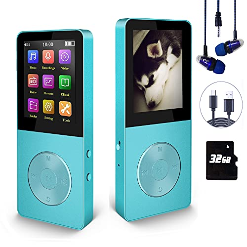 Mp3 Player, Hotechs Hi-Fi Sound, with FM Radio, Recording Function Build-in Speaker Expandable Up to 64GB with Noise Isolation Wired Earbuds (Blue)