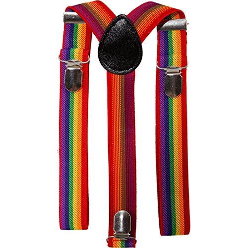 Amakando Clown Kostümzubehör Set Hosenträger und Fliege Regenbogen Clownskostüm Krawattenschleife Suspenders Zirkus Querbinder Braces Komiker Kostüm Zubehör CSD Accessoires
