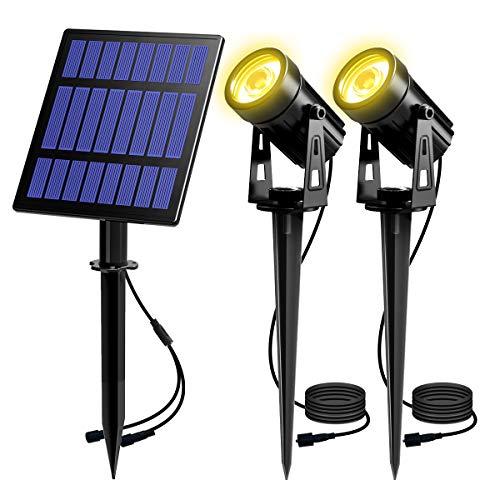 T-SUN Lampade Solari da Giardino, Luci Solari da Esterno, Impermeabile Faretto Solare Riflettore Alimentato con 2 Luci Bianche Cald, Illuminazione Giardino Estremamente Flessibile, 3000K.