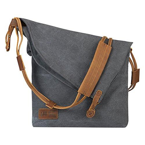 P.KU.VDSL Canvas Tasche, Damen Schultertasche Canvas Messenger Bag Umhängetasche Crossbody Tasche Mädchen Schultertaschen Bucket Bag Shopper Shoulder Bag für Schule Reisen Arbeit (Grey)