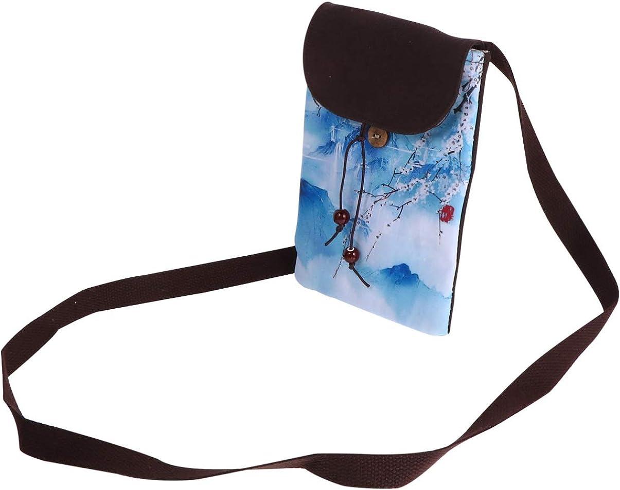 Baluue Canvas Phone Pouch Crossbody Bag Cell Phone Pouch Coin Purse Simple Coin Bandolera para Dama Niña Mujer (Blanco)