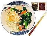 GJNVBDZSF Tazón de Sopa de Fideos Recipiente de cerámica Japonesa Patrón Dibujado a Mano Copo de Nieve Estilo de Granja Que Incluye Palillos Lavaplatos, Vajilla de Restaurante Segura para Horno