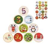 Huker 24 Pinzas de Madera para Calendario de Adviento, Clips de Madera de Navidad con Adviento Pegatinas Digitales, Pinzas de Disco de Madera para Calendario de Navidad y Decoración, Pinzas de Fotos