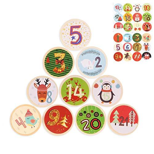 JOYUE 24 Pinzas de Madera para Calendario de Adviento, Clips de Madera de Navidad con Adviento Pegatinas Digitales, Pinzas de Disco de Madera para Calendario de Navidad y Decoración, Pinzas de Fotos