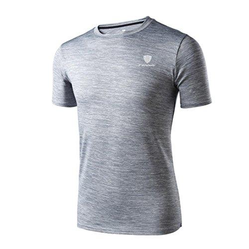VEMOW Sommer Mann Mode Lässig Täglichen Workout Leggings Fitness Sport Gym Laufen Yoga Athletisch Shirt Top Bluse Pullover (Grau, 56 DE / 2XL CN)