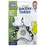 9. Baby Buddy Universal Pacifier Holder Clip - Snaps to Paci or Attach with Universal-Fit Silicone Ring - Pacifier Clip for Babies 4+ Months/Toddler Boys & Girls, Navy-Yellow Dots