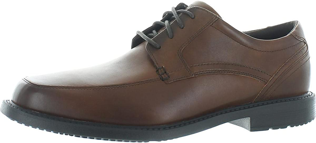 Rockport Mens Sherwood Apron Toe Leather Oxfords Tan 11 Extra Wide (E+, WW)