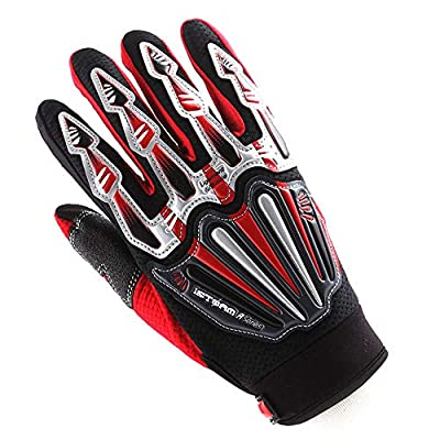 Motocross Motorcycle BMX MX ATV Dirt Bike Skeleton Racing Cycling Gloves Red