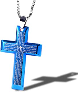 Lord/'s Prayer Bible trois couches Croix Acier Inoxydable Collier Pendentif