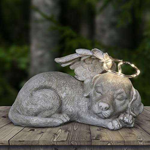 Exhart Sleeping Puppy with Angel Wings and Solar Halo - Sleeping Dog Garden Décor, Pet Dog Memorial Statue, Angel Puppy Memorial Marker, 8.7' L x 11.8' W x 6.5' H
