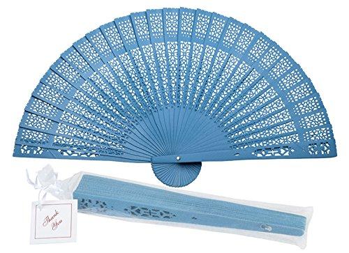 "Quasimoon PaperLanternStore.com 8"" Turquoise Chinese Folding Wood Panel Hand Fan w/White Organza Bag for Weddings"