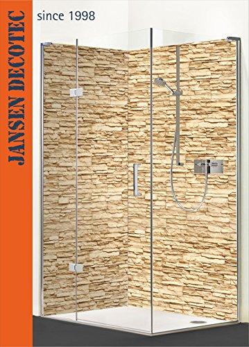 Eck - Duschrückwand, links 90x200cm, rechts 120x200cm, Motiv: Steindecor Sandstein