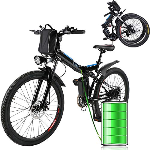 "Eloklem E-Bike Faltrad Mountainbike Elektrofahrrad mit 21-Gang Shimano Nabenschaltung, 250W, 8AH, 36V Lithium-Ionen-Akku, 26\"" Zoll, Pedelec Citybike Stadtrad leicht (Schwarz)"