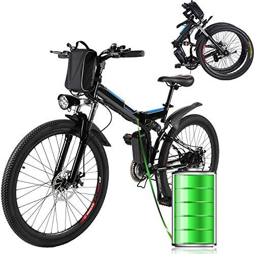 E-Bike Bici Pieghevole Mountain Bike Bici Elettrica con Cambio Shimano 21 velocità, 250W, 8AH, Batteria agli ioni di Litio 36V, 26', Bici City Bike (Nero)