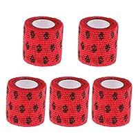 包帯テープ 不織布 創傷 自己粘着 ペット 犬 猫 通気性 5個セット - レッド, L