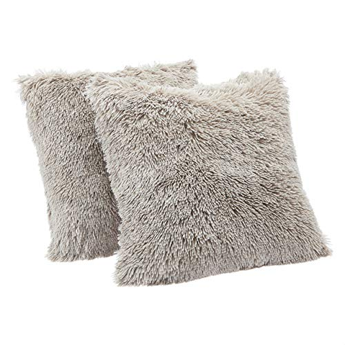 """Amazon Basics Shaggy Long Fur Faux Fur Throw Pillow Covers, 18""""x18"""", Pack of 2 - Taupe"""