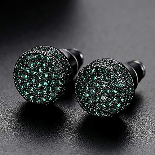TTYJWDWY-Pendientes de circonio cúbico Redondos de Hip Hop de 9 mm, Pendientes de Hombre, Pendientes de Cristal Blanco Verde, joyería de Moda para Hombre-Verde