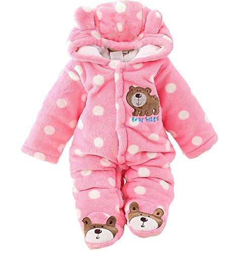 Gaorui Newborn Baby Jumpsuit Outfit Hoody Coat Winter Infant Rompers Toddler Clothing Bodysuit Pink
